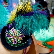 This Mardi Gras fascinator is for sale at the art festival. (image via http://www.artscouncilofneworleans.org/)