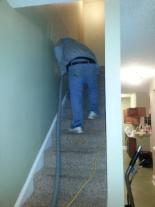 The tech from NOLA Carpet Cleaners steam-cleaned each of our stairs. (photo by Caleb Wells/New in NOLA)