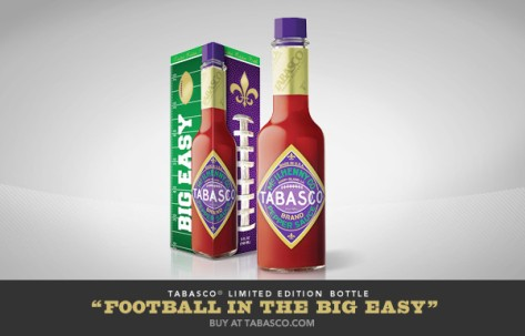This is the special edition Tabasco bottle. It was released for the Super Bowl, which is being held in New Orleans on Sunday. (image via @Tabasco on Twitter)