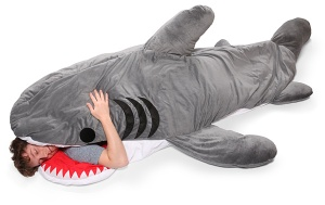 This shark sleeping bag is much cooler than the boring teal one we have. (image via http://laughingsquid.com/)