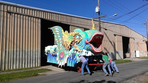 This Mardi Gras float was spotted Sunday on Bordeaux Street in New Orleans. (photo by Carlie Kollath Wells/New in NOLA)