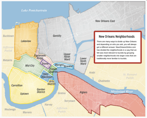 New Orleans neighborhood map via NewOrleansOnline.com