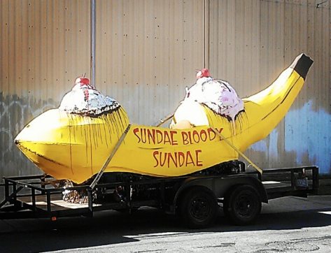 We spotted a Mardi Gras float outside our apartment the other day - Sundae Bloody Sundae. How punny. (Photo by Carlie Kollath Wells)