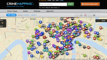 Screenshot of New Orleans crime stats via http://www.crimemapping.com/map/la/neworleans
