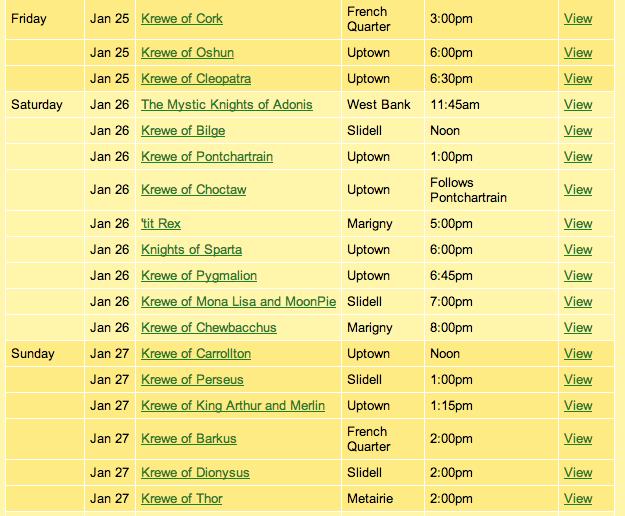 Mardi Gras Schedule