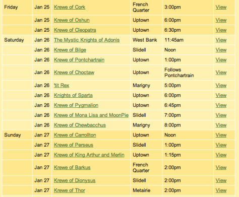 This is a screenshot of the parade schedule for this weekend from MardiGrasNewOrleans.com.