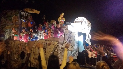 "This was the Times-Picayune float at the Chaos parade. It was called ""Abandoned Ship."" (photo via Carlie Kollath Wells/New in NOLA)"