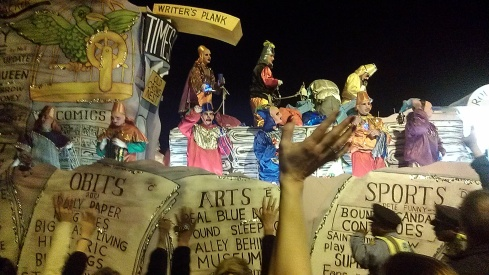 This was the Times-Picayune float at the Chaos parade at Mardi Gras. (photo by Carlie Kollath Wells/New in NOLA)