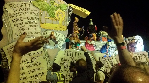 This was the Times-Picayune float at the Chaos parade in 2013. (photo by Carlie Kollath Wells/New in NOLA)
