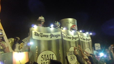 "This was the Times-Picayune float at Muses parade in New Orleans. It's theme was ""canned goods."" (photo by Carlie Kollath Wells/New in NOLA)"