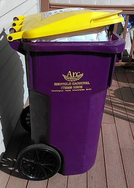 Looks for these purple and gold bead recycling bins around the metro area.  Arc of New Orleans will recycle your Mardi Gras beads and throws.  (photo by Carlie Kollath Wells/New in NOLA)