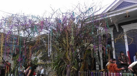 You can decorate your trees with beads. After the parades, kids and merrymakers tossed beads into this tree on Magazine Street in New Orleans. (photo by Carlie Kollath Wells/New in NOLA)