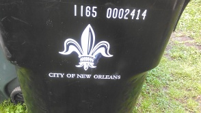 The trash cans in New Orleans have flair. (photo by Carlie Kollath Wells/New in NOLA)