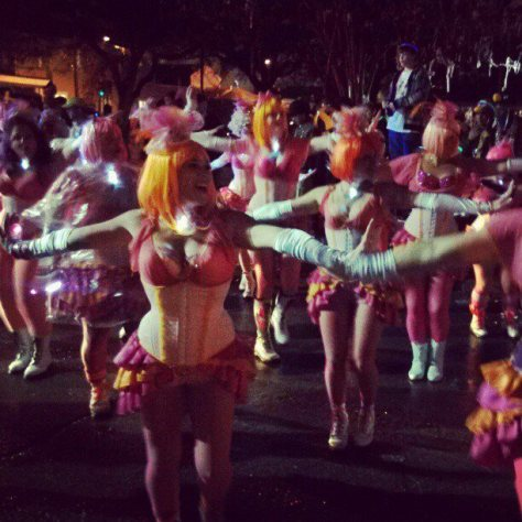 The Pussyfooters put on quite a show at the Orpheus parade in New Orleans. (photo via @newinNOLA on Instagram)
