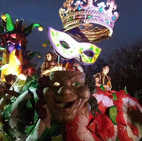 Harry Connick Jr. and Mariska Hargitay rode in Orpheus at Mardi Gras 2013 in New Orleans. (photo by Carlie Kollath Wells/New in NOLA)