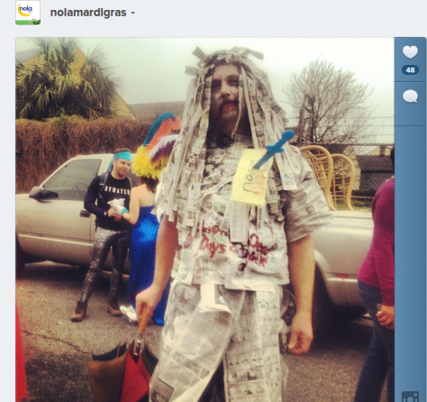 This Mardi Gras costume was made with pages from The Times-Picayune. (via @nolamardigras on Instagram - one of NOLA.com's official Instagram feeds)