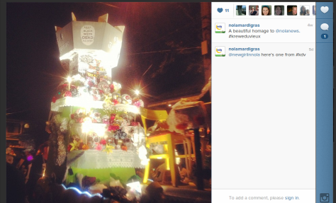 This Times-Picayune float was in the Krewe du Vieux parade in New Orleans. (photo via @nolamardigras on Instagram)