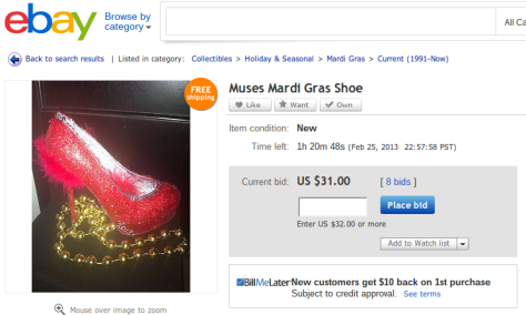 Some people try to sell their Mardi Gras beads & loot on eBay. (eBay screenshot)