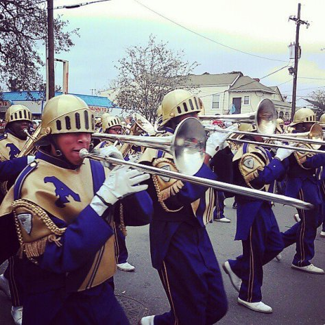 St. Aug's marching band was everywhere this Mardi Gras. We saw them in just about every parade. Also, our #newinNOLA tip: back up at parades so you don't get tromboned in the face. (photo via @newinNOLA on Instagram)