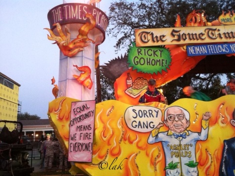 This is The Times-Picayune float in the Krewe d'Etat parade in New Orleans. (photo via @L_O_R_I on Instagram)
