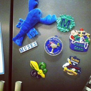 Turn your Mardi Gras beads into fridge magnets. (image via Pinterest user lesleye)