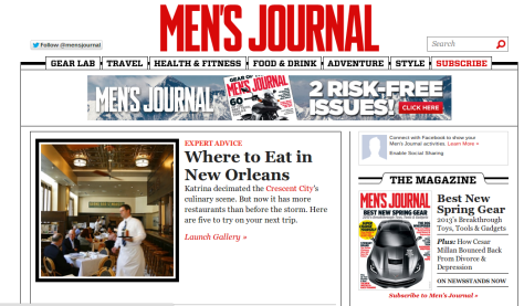 screenshot of the feature on MensJournal.com