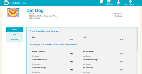 Couchster.com posts online menus (with prices) on its site. Here's a snippet of Dat Dog's menu.