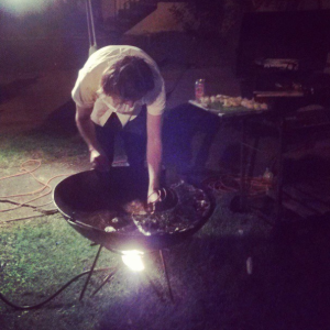 One partygoer broke out the mega wok to cook duck wontons. Impressive! (photo via @newinNOLA on Instagram)