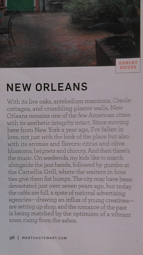 Martha Stewart Living had a feature about New Orleans in its February 2013 edition. (photo by NewinNOLA.com)