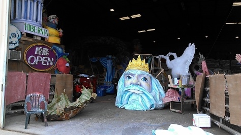 The Royal Artists already have started working on Mardi Gras floats for 2014. These are pieces of 2013 floats that have been dismantled. (photo by Carlie Kollath Wells/New in NOLA)