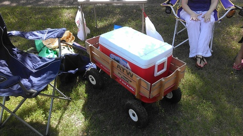This is how you have a rolling party in NOLA - cooler in a wagon. (photo by Carlie Kollath Wells/New in NOLA)