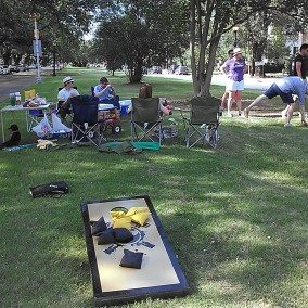 We have meetups about once a month. This was a meetup held over the summer in the neutral ground on Napoleon. (photo by Carlie Kollath Wells/New in NOLA)