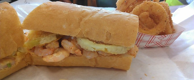 shrimp remoulade poboy from Crabby Jack's (photo by Carlie Kollath Wells/New in NOLA)