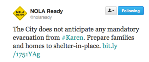 tweet sent out Thursday morning via @NOLAready