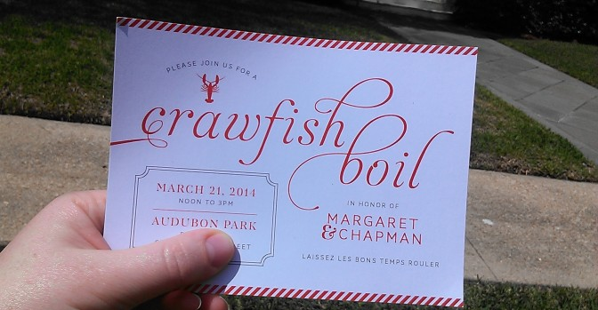 crawfish boil invite created by PS Creative (photo by Carlie Kollath Wells/New in NOLA)