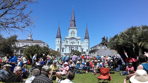 People bring chairs and eat al fresco in Jackson Square during French Quarter Fest. (photo by Carlie Kollath Wells, NewinNOLA.com)