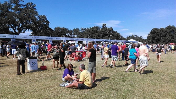At the Louisiana Seafood Festival, food and drink vendors set up in City Park. No admission. Pay for what you eat. Good times. (photo of the 2013 festival by Carlie Kollath Wells/New in NOLA)