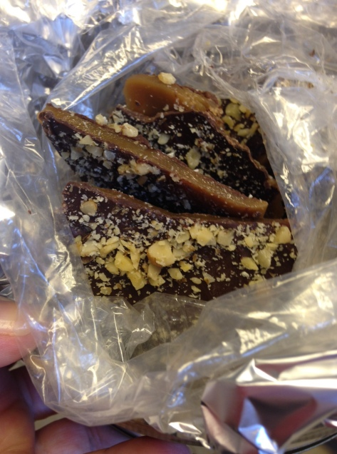 how to make chocolate-dipped buttercrunch candy (photo by Patsy R. Brumfield, Southfacin' Cook)