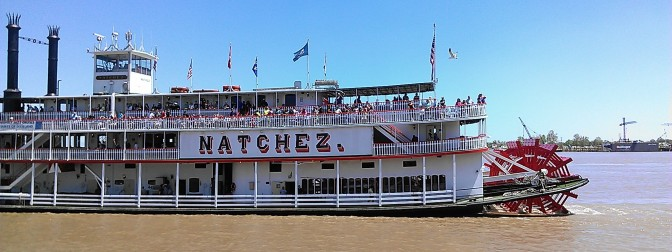 This is the riverboat Natchez. It does daily cruises on the Mississippi River. (photo by Carlie Kollath Wells, New in NOLA)