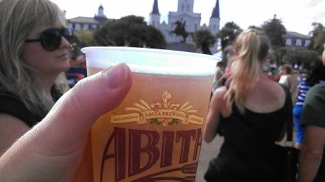 A go cup full of Abita is a happy thing. (photo by Carlie Kollath Wells, New in NOLA)
