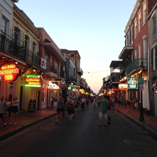 Bourbon Street is usually pretty calm around twilight. (photo by Carlie Kollath Wells, New in NOLA)