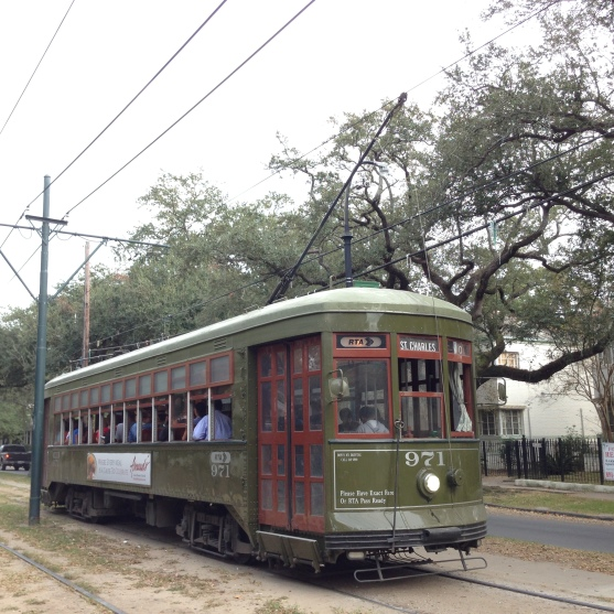 The St. Charles streetcar is a good transit option if you are staying in the French Quarter. It will take you down the tree-lined avenue and you can get off anywhere, including the Garden District, Tulane, Loyola and Audubon Park. (photo by Carlie Kollath Wells, New in NOLA)